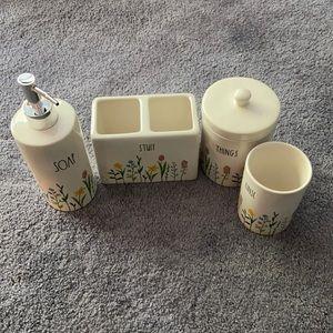 Rae Dunn Stem Flowers Bathroom Set